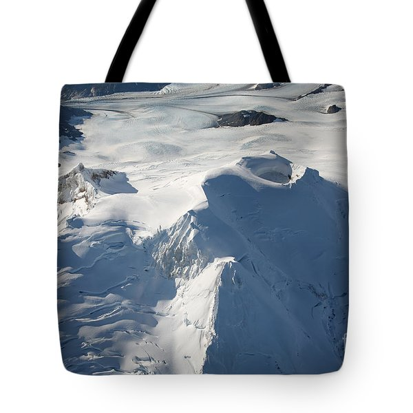 Aerial View Of Glaciated Mount Douglas Tote Bag by Richard Roscoe