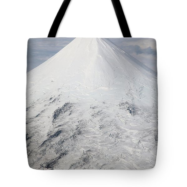 Aerial View Of Glaciated Shishaldin Tote Bag by Richard Roscoe