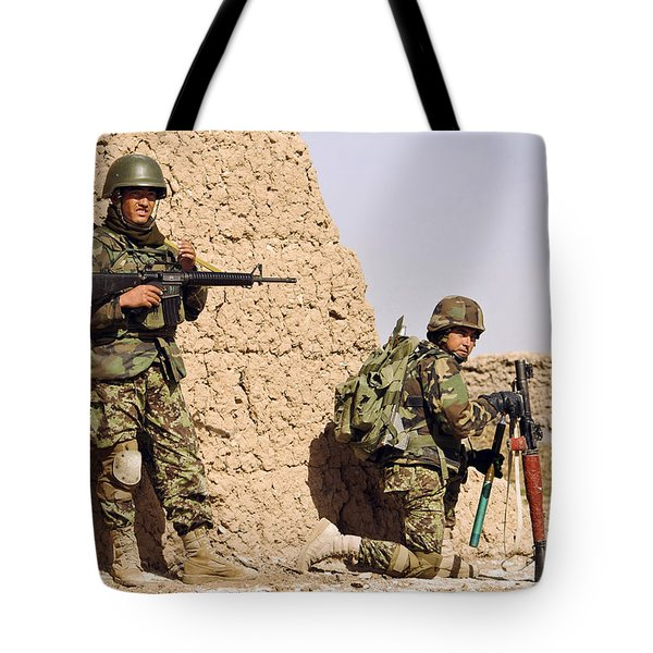 Afghan Soldiers Conduct A Dismounted Tote Bag by Stocktrek Images