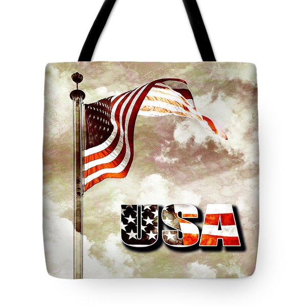 Aged Usa Flag On Pole Tote Bag by Phill Petrovic