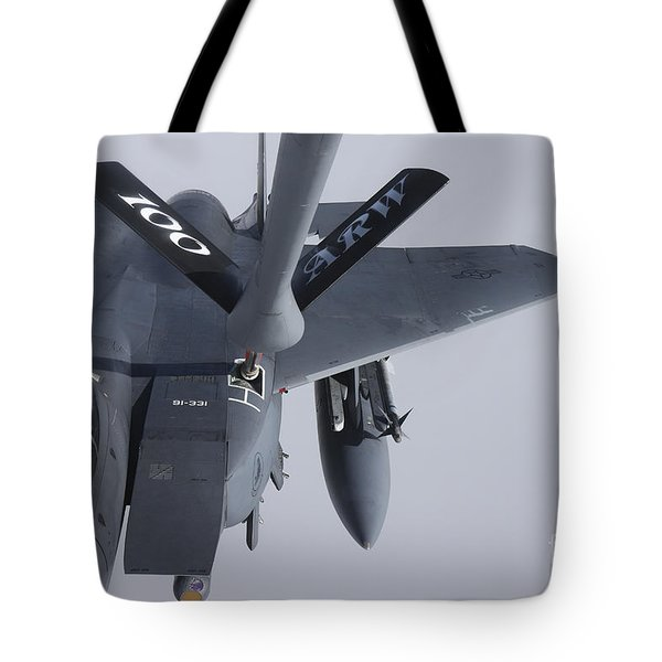 Air Refueling A F-15e Strike Eagle Tote Bag by Daniel Karlsson