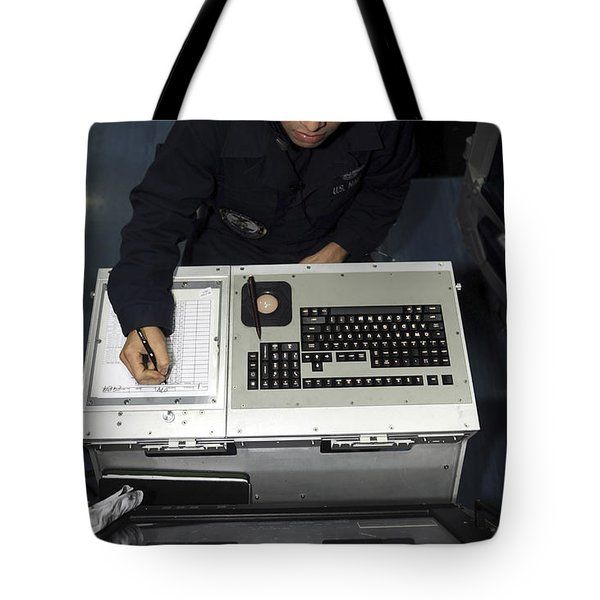 Air Traffic Controller Records Incoming Tote Bag by Stocktrek Images