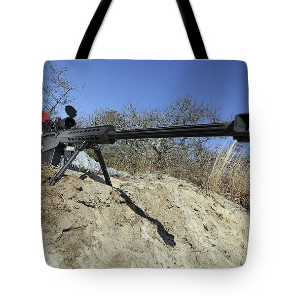 Airman Sights A .50 Caliber Sniper Tote Bag by Stocktrek Images