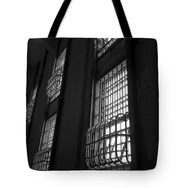 Alcatraz Federal Penitentiary Cell House Barred Windows Tote Bag by Daniel Hagerman