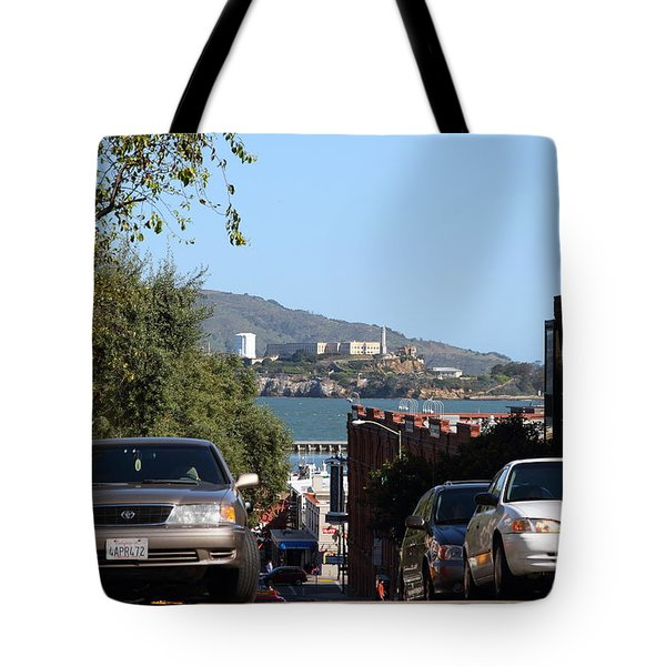 Alcatraz Island Through The Hyde Street Pier in San Francisco California . 7D13973 Tote Bag by Wingsdomain Art and Photography