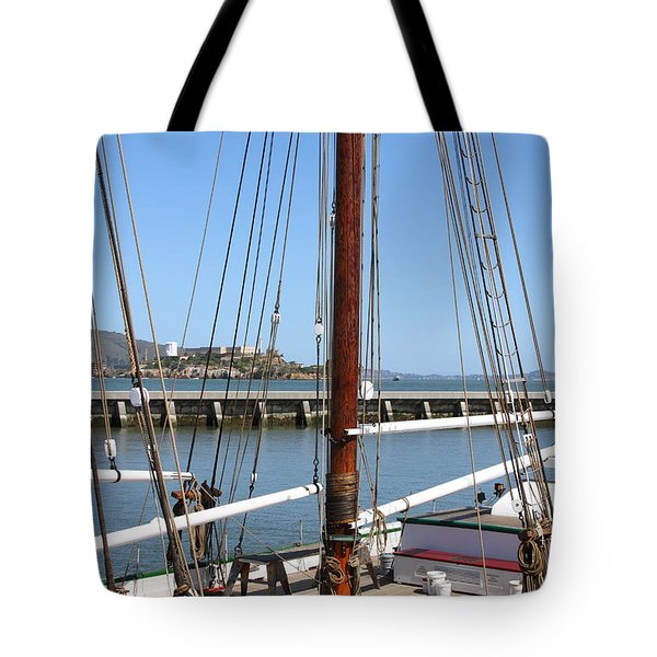 Alcatraz Island Through The Hyde Street Pier in San Francisco California . 7D14147 Tote Bag by Wingsdomain Art and Photography