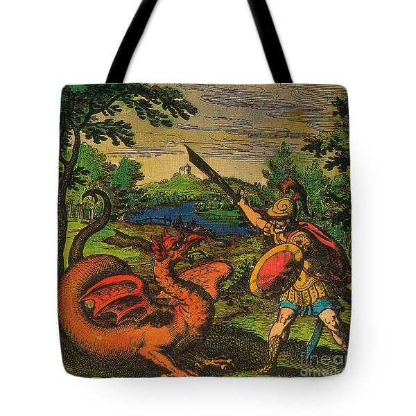 Alchemical Knight Slays The Primordial Tote Bag by Science Source