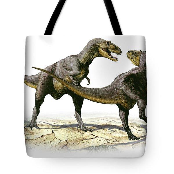 Alectrosaurus Olseni, A Prehistoric Tote Bag by Sergey Krasovskiy