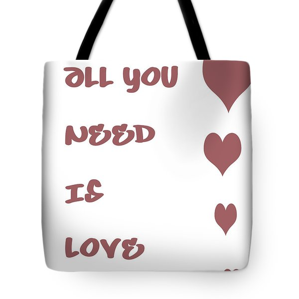 All you Need is Love - Plum Tote Bag by Nomad Art And  Design