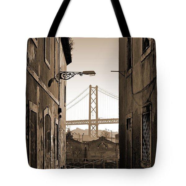 Alley And Bridge Tote Bag by Carlos Caetano