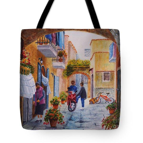 Alley Chat Tote Bag by Karen Fleschler
