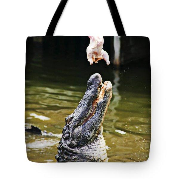 Alligator Feeding Tote Bag by Garry Gay