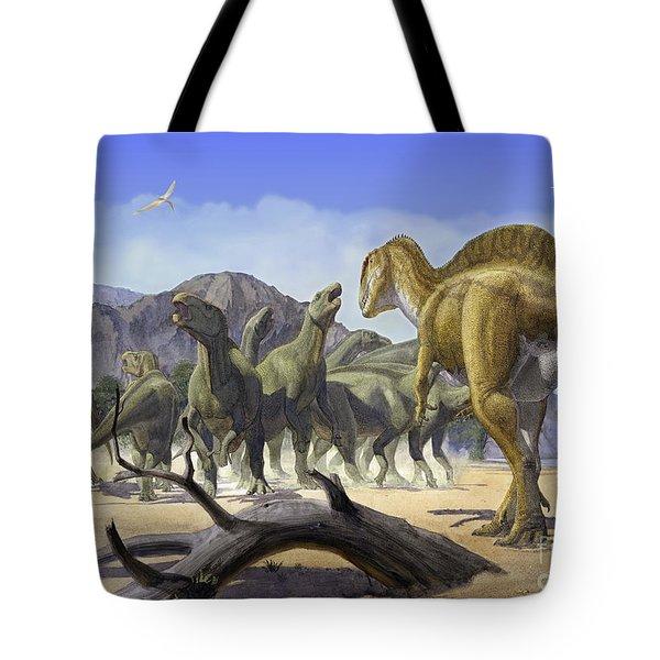 Altispinax Dunkeri Dinosaurs Attack Tote Bag by Sergey Krasovskiy