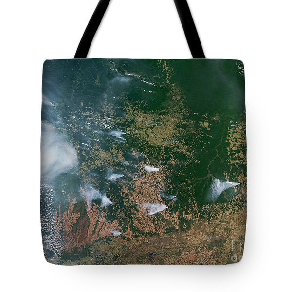 Amazon Basin Forest Fires, Satellite Tote Bag by NASA / Science Source