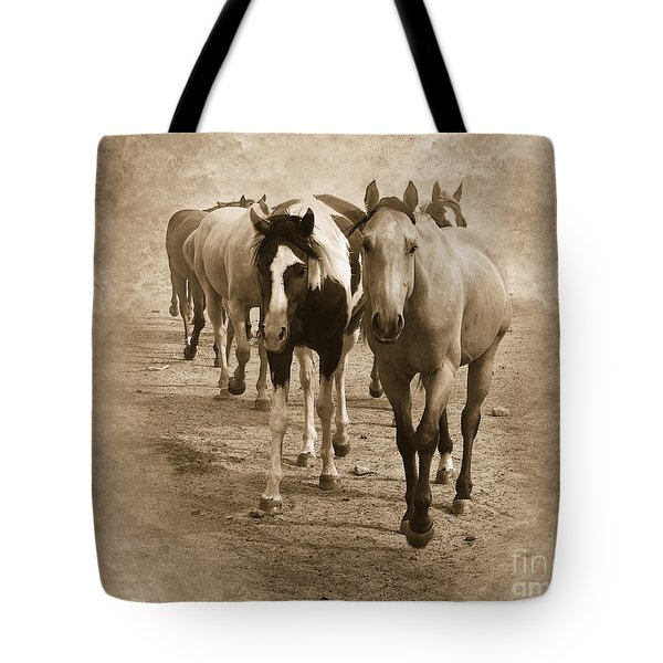 American Quarter Horse Herd in Sepia Tote Bag by Betty LaRue