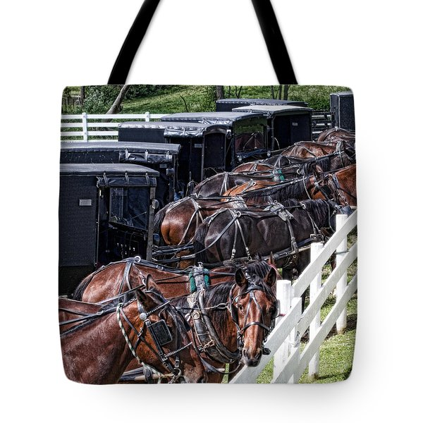 Amish Parking Lot Tote Bag by Tom Mc Nemar