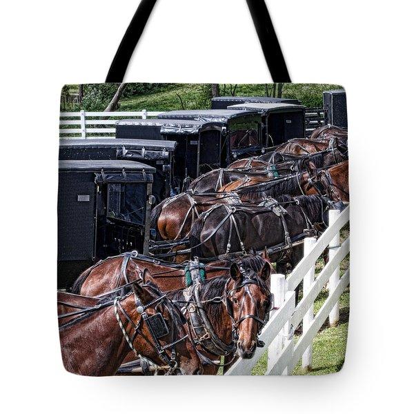 Amish Parking Lot Tote Bag by Tom Mc Nemar