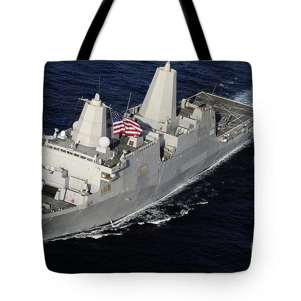 Amphibious Transport Dock Ship Uss San Tote Bag by Stocktrek Images