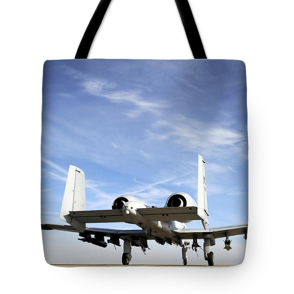 An A-10 Thunderbolt Ii Taxies Tote Bag by Stocktrek Images