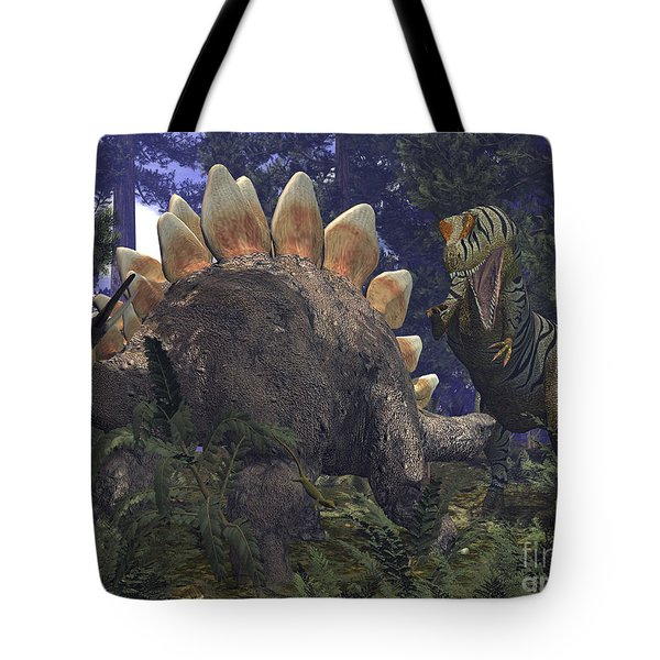 An Allosaurus Stumbles Upon A Grazing Tote Bag by Walter Myers