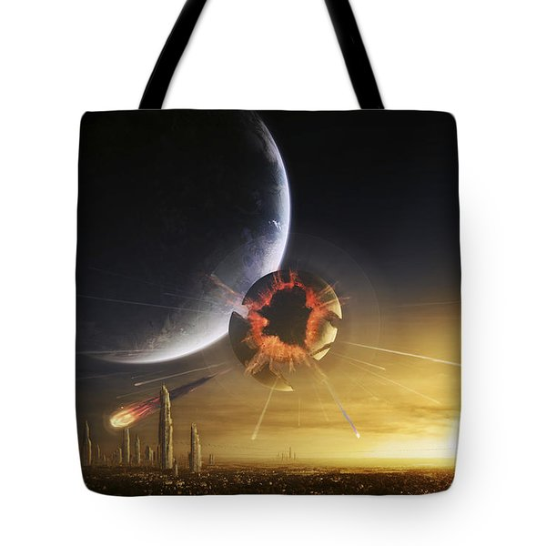 An Apocalyptic Scene Showing A Gravity Tote Bag by Tobias Roetsch