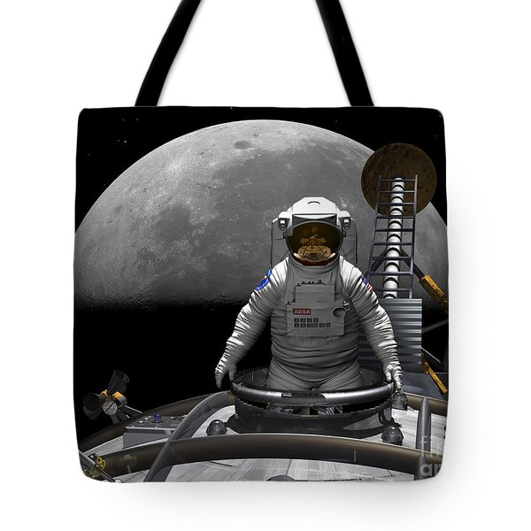 An Astronaut Takes A Last Look At Earth Tote Bag by Walter Myers