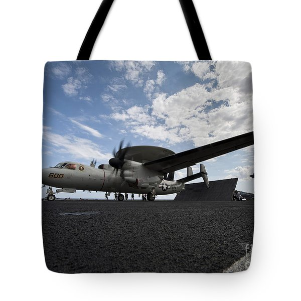 An E-2c Hawkeye Aircraft Prepares Tote Bag by Stocktrek Images