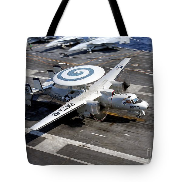 An E-2c Hawkeye Lands On The Flight Tote Bag by Stocktrek Images