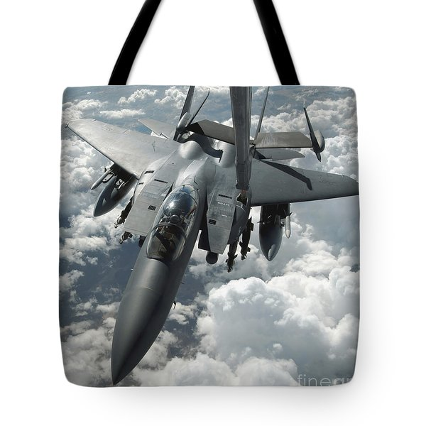 An F-15 E Strike Eagle Receives Fuel Tote Bag by Stocktrek Images