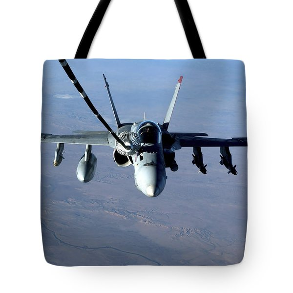 An Fa-18c Hornet Receives Fuel Tote Bag by Stocktrek Images