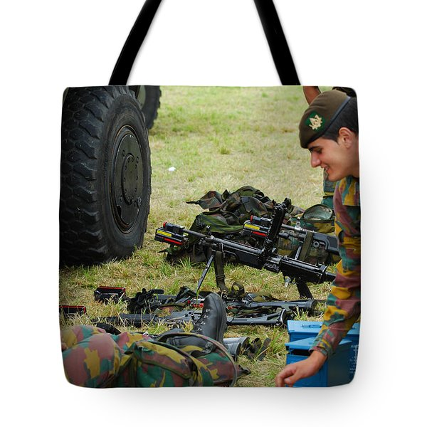 An Infantry Unit Of The Belgian Army Tote Bag by Luc De Jaeger