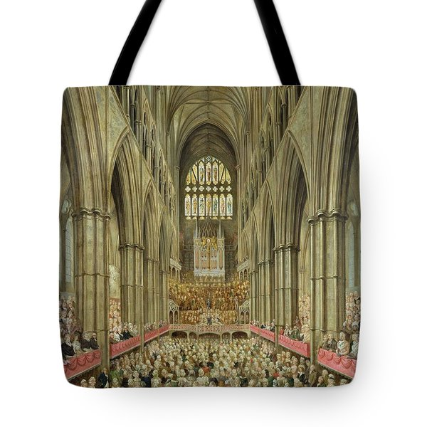 An Interior View Of Westminster Abbey On The Commemoration Of Handel's Centenary Tote Bag by Edward Edwards