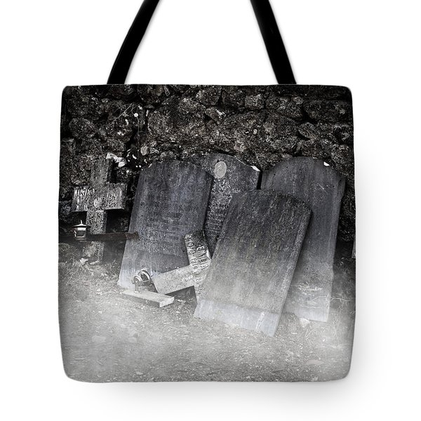 An Old Cemetery With Grave Stones And Fog Tote Bag by Joana Kruse