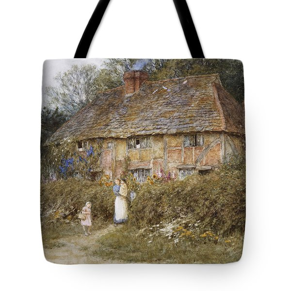 An Old Surrey Cottage Tote Bag by Helen Allingham
