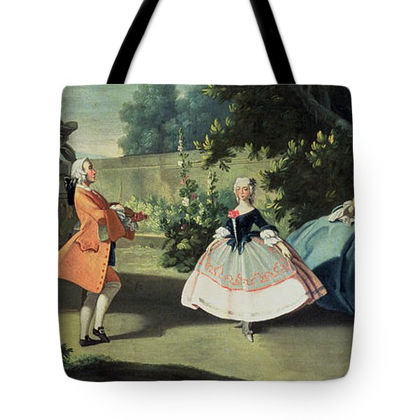 An Ornamental Garden With A Young Girl Dancing To A Fiddle Tote Bag by Filippo Falciatore