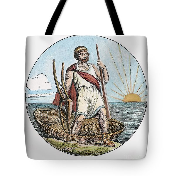 Ancient Briton And Coracle Tote Bag by Granger