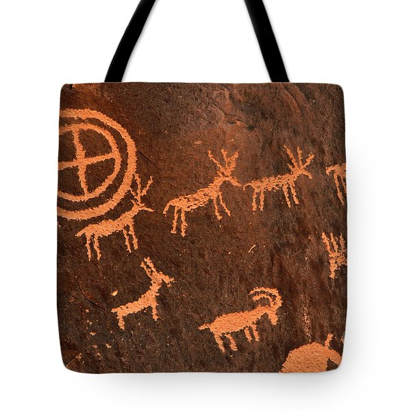 Ancient Indian Petroglyphs Tote Bag by Gary Whitton