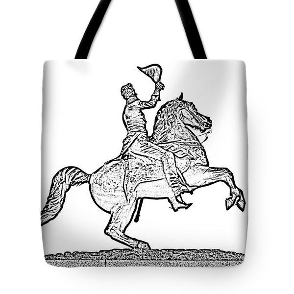 Andrew Jackson Statue Jackson Square French Quarter New Orleans Photocopy Digital Art Tote Bag by Shawn O'Brien