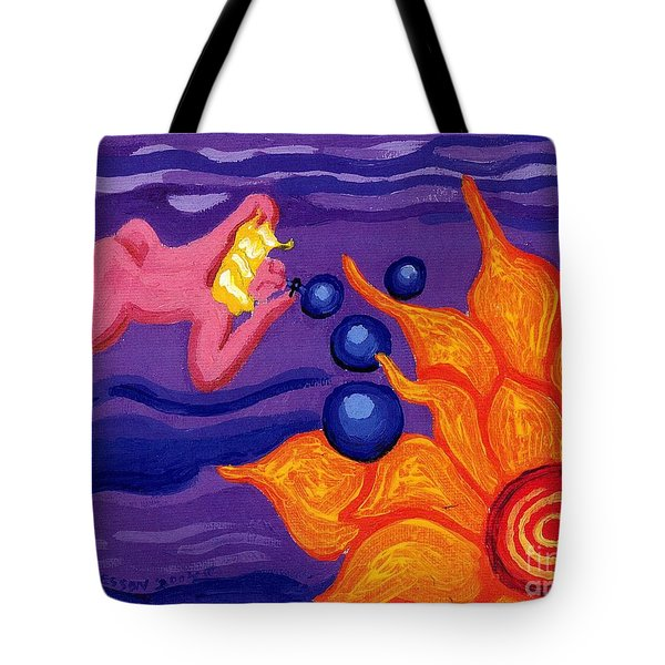 Angel Blows Bubbles On Sunflower Tote Bag by Genevieve Esson