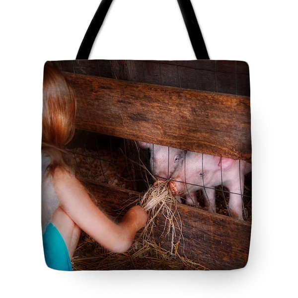Animal - Pig - Feeding piglets  Tote Bag by Mike Savad