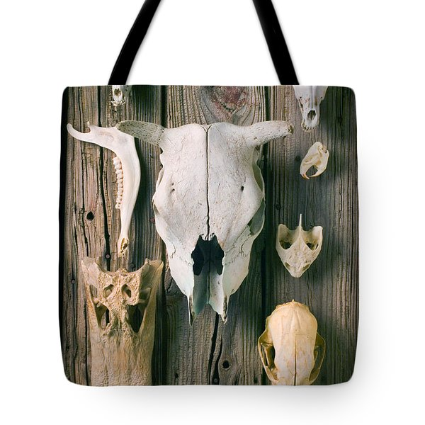 Animal Skulls Tote Bag by Garry Gay