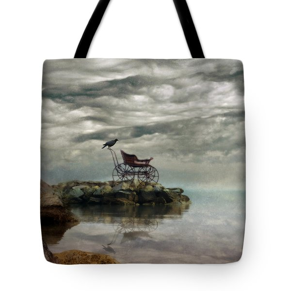 Antique Baby Buggy By The Sea Tote Bag by Jill Battaglia