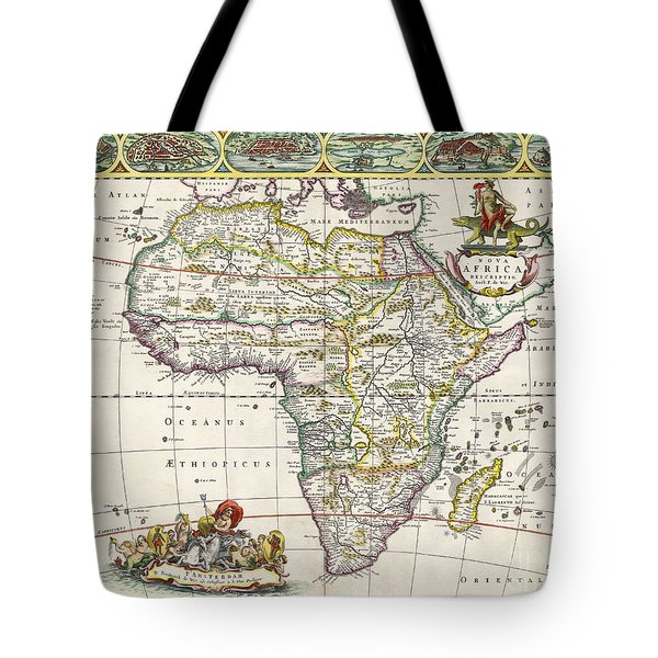 Antique Map Of Africa Tote Bag by Dutch School
