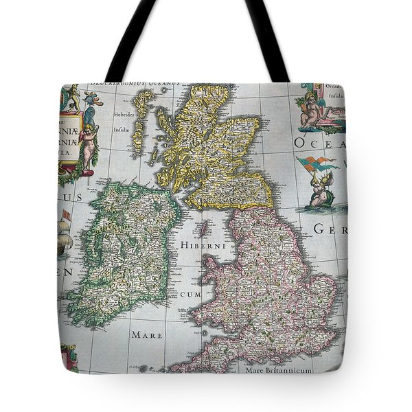 Antique Map Of Britain Tote Bag by English School