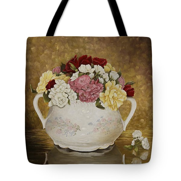 Antique Roses Tote Bag by Mary Ann King