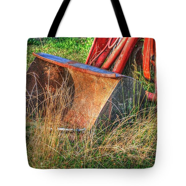 Antique Tractor Bucket Tote Bag by Jennifer Lyon