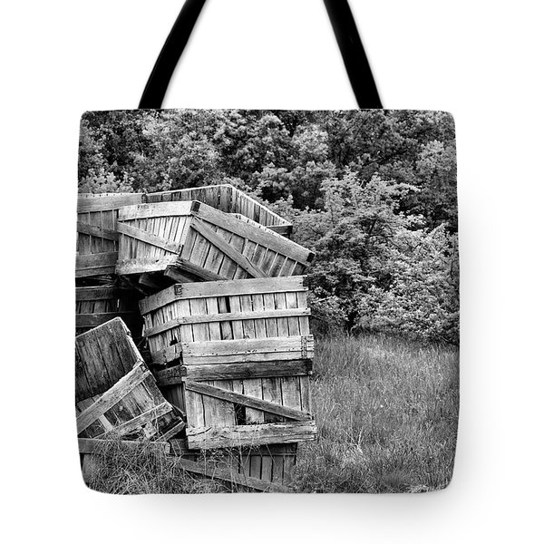 Apple Crate BW Tote Bag by JC Findley