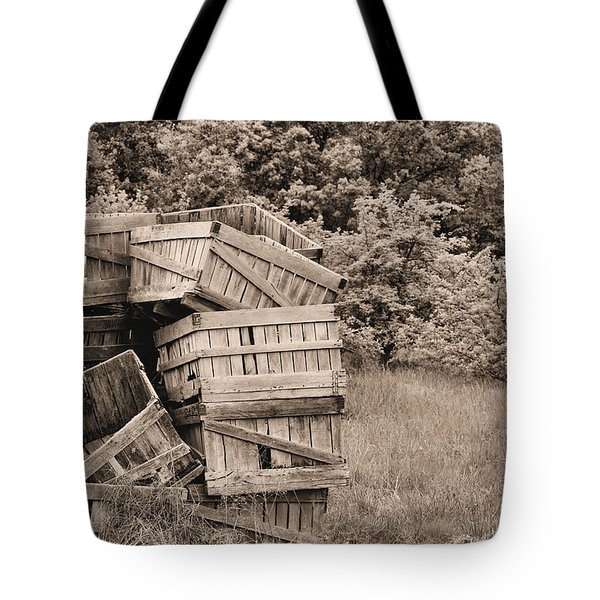 Apple Crates Sepia Tote Bag by JC Findley