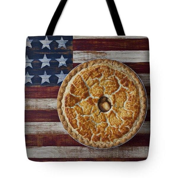 Apple pie on folk art  American flag Tote Bag by Garry Gay