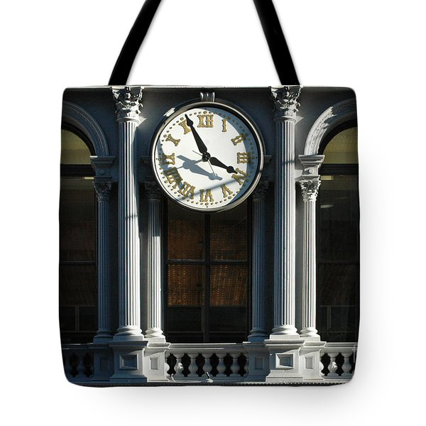 Architectural arches and Clock Tote Bag by Anahi DeCanio